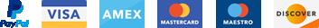 Pagos seguros por PayPal, Visa, American Express, Master Card, Maestro y Discover.